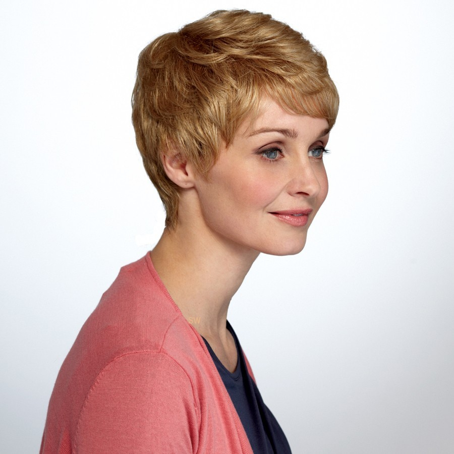 Short Cut wig Natural Image shown in colour Butterscotch