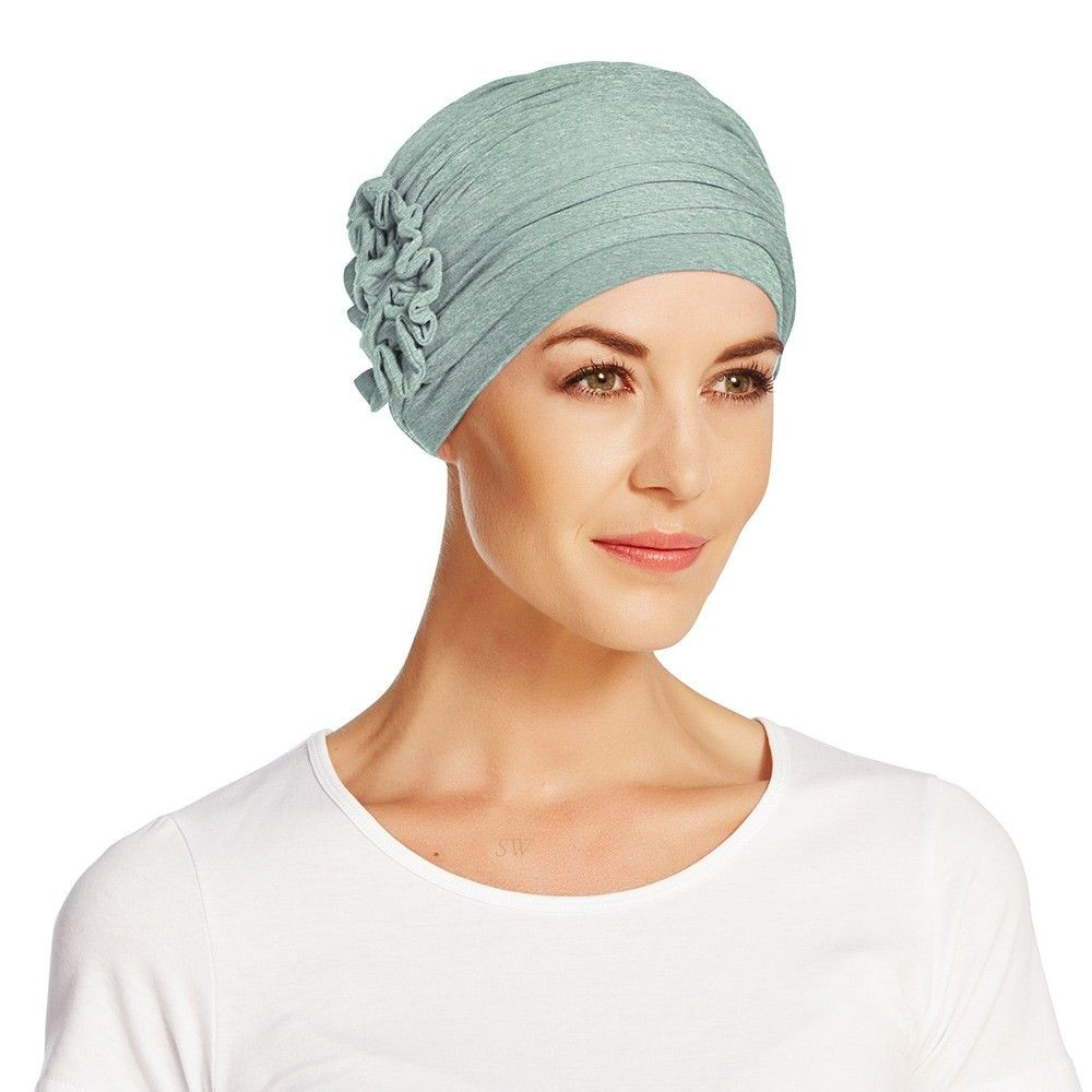 Christine Headwear Lotus Wellness Bamboo Turban In Aqua Green Melange