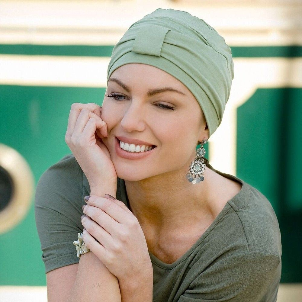 Ellie Bamboo Turban Purity Headwear In Green